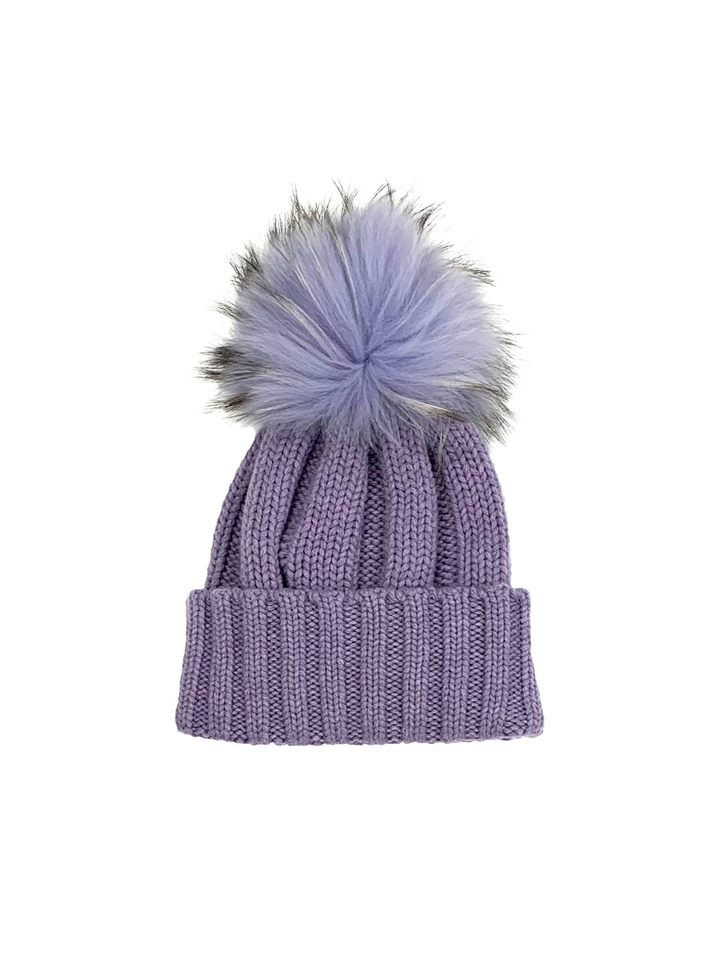Raffaello Bettini Ribbed Beanie with Fox Pom Pom