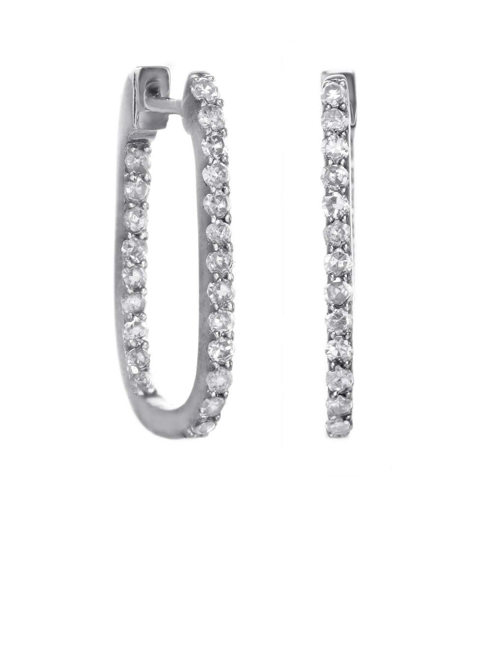 Margo Morrison Oval Hoop Diamond Earrings - Sterling Silver