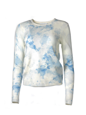 White + Warren Cashmere Floral Tie Dye Crewneck Sweater
