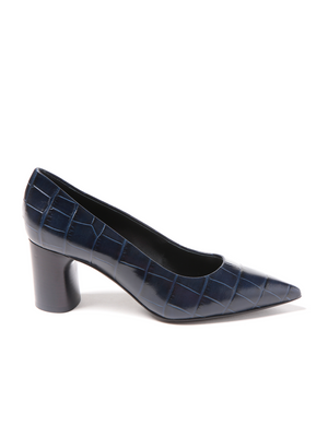 Casadei Lousiane Pump Dark Blue Crocodile Embossed Leather