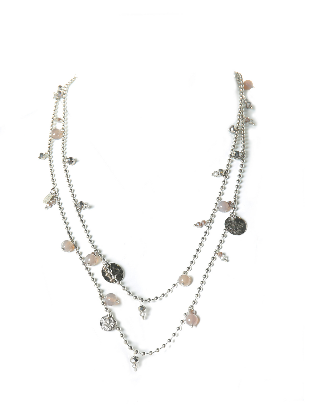 Peserico Long Multi Strand Agate Charm Necklace
