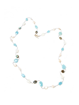 "Margo Morrison Labradorite, Aquamarine, Moonstone and Pearl 35"" Necklace"