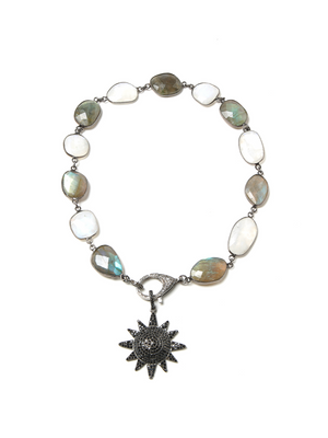 Margo Morrison Moonstone and Labradorite Necklace with Diamond Clasp
