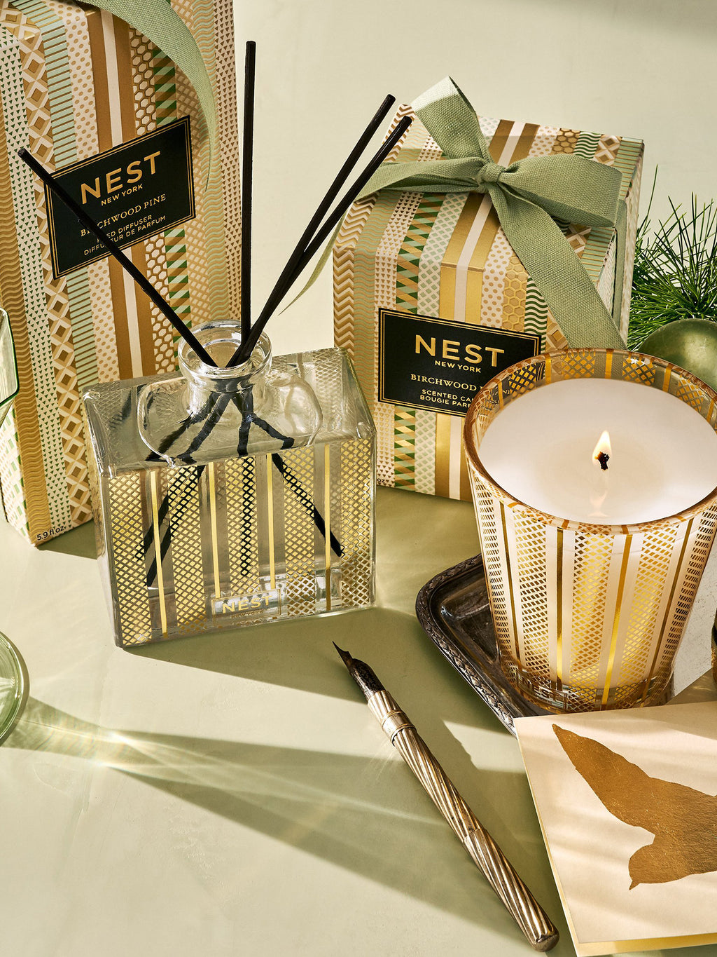 NEST Fragrances Holiday 3-Wick Candle, Birchwood Pine