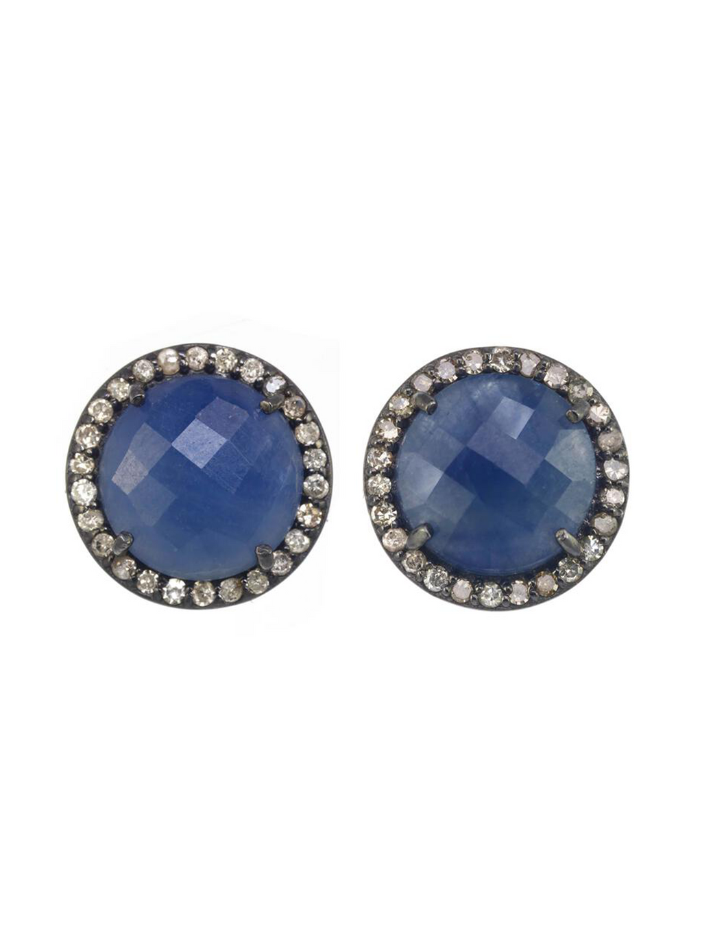 Margo Morrison Faceted Blue Sapphire and Diamond Stud Earrings