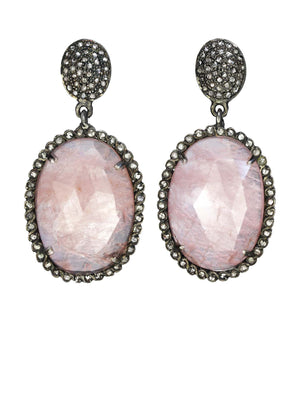 Margo Morrison Morganite and Diamond Oval Gem Drop Earrings
