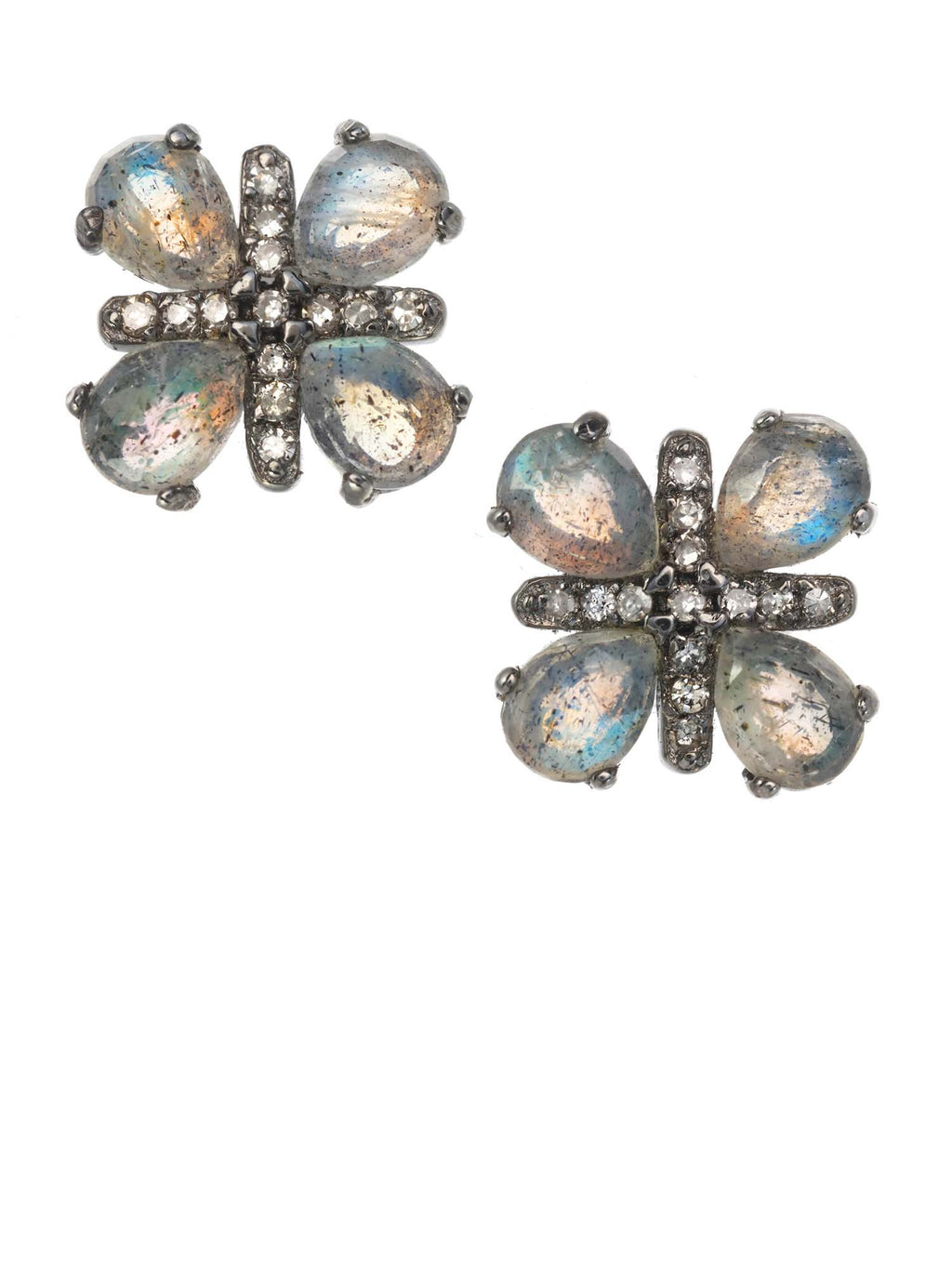Margo Morrison Faceted Labradorite and Diamond Flower Earrings