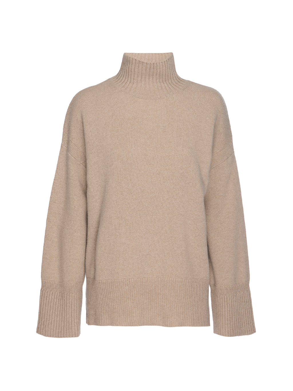 Frame High Low Turtleneck Sweater Caramel Heather
