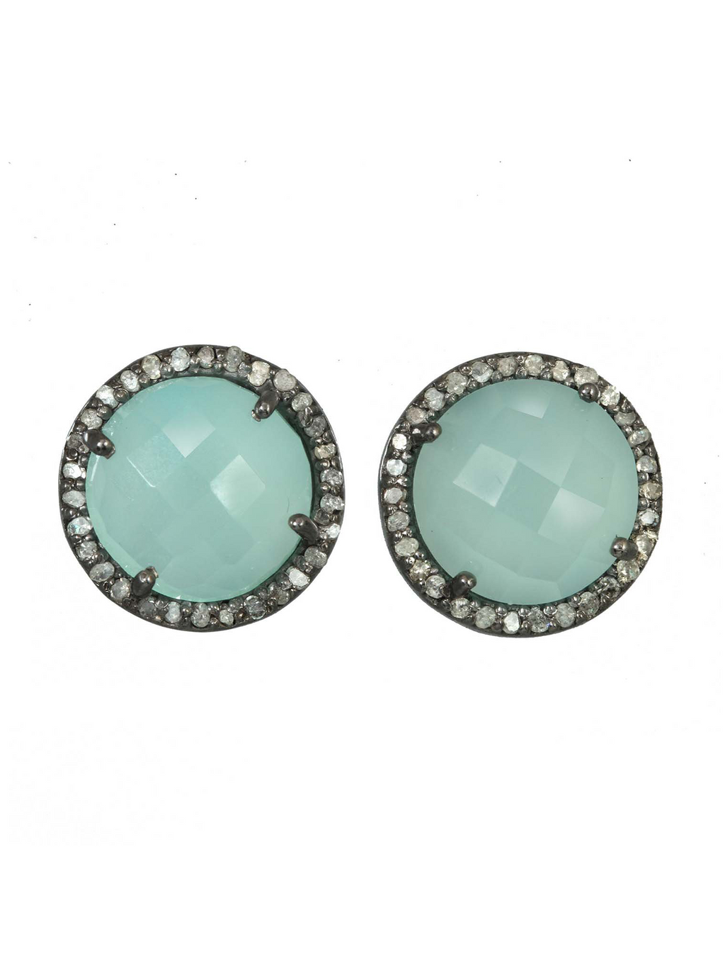 Margo Morrison Faceted Peruvian Chalcedony and Diamond Halo Stud Earrings
