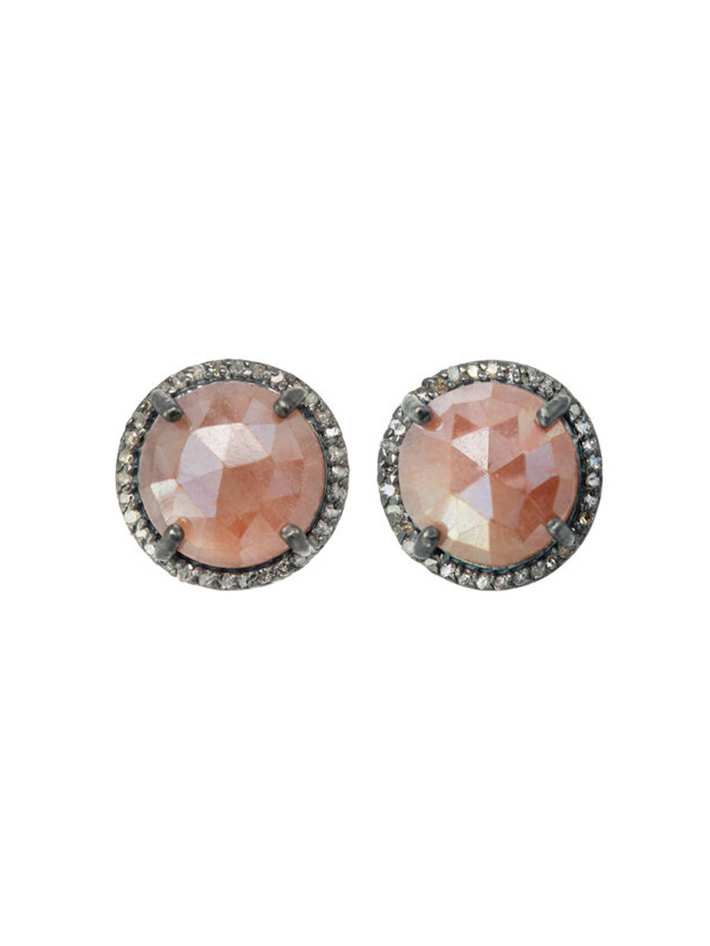 Margo Morrison Faceted Coated Mystic Pink Quartz and Diamond Stud Earrings