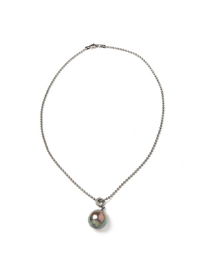 "Margo Morrison Baroque Pearl and Diamond Pendant 18"" Necklace"
