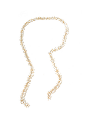 Margo Morrison White Freshwater Pearl Cluster Lariat Necklace