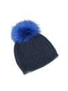 Raffaello Bettini English Stitch Cashmere Toque with Fox Pom Pom