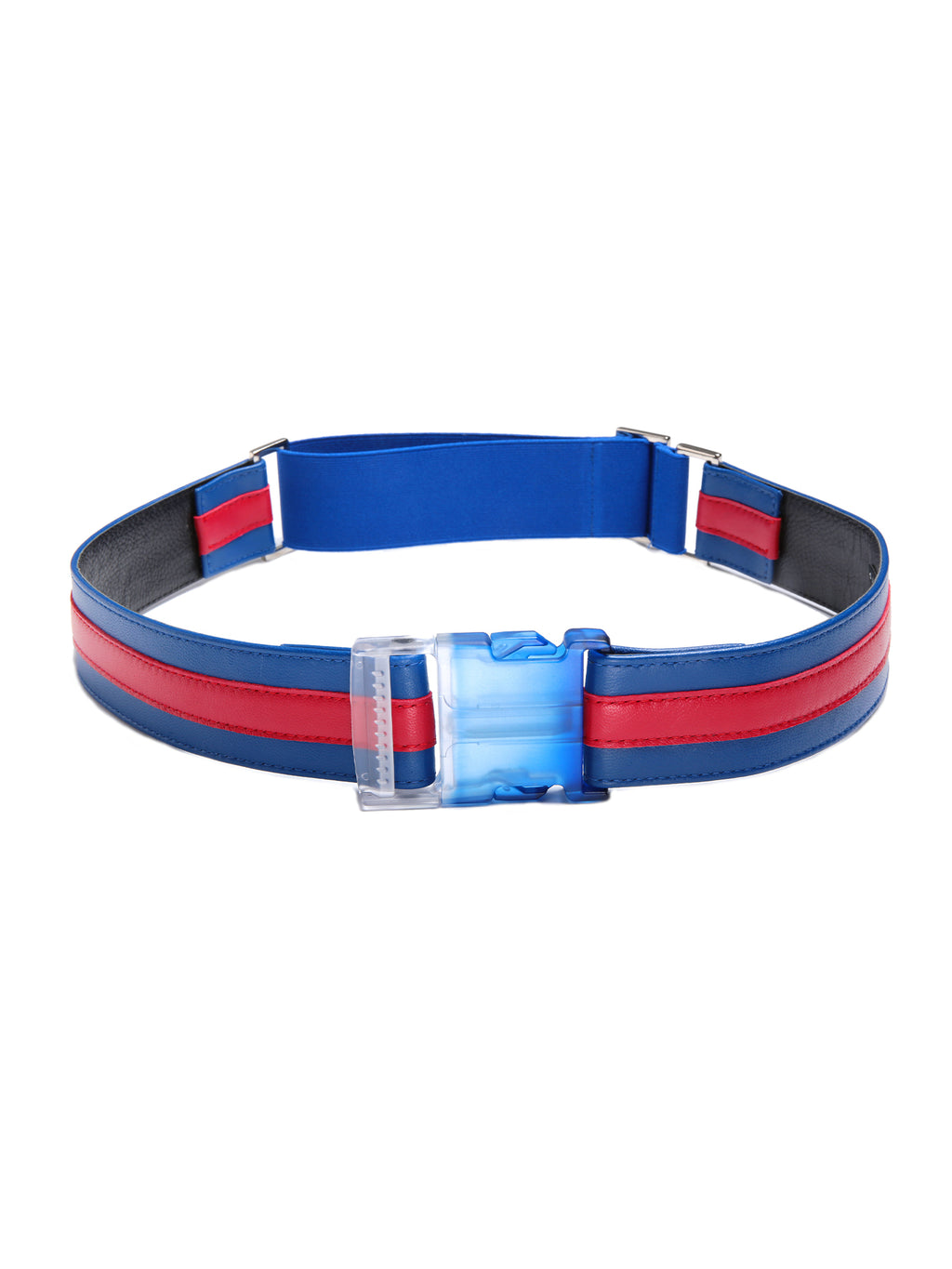 Suzi Roher Snap Buckle Leather Belt with Back Elastic in Red & Blue