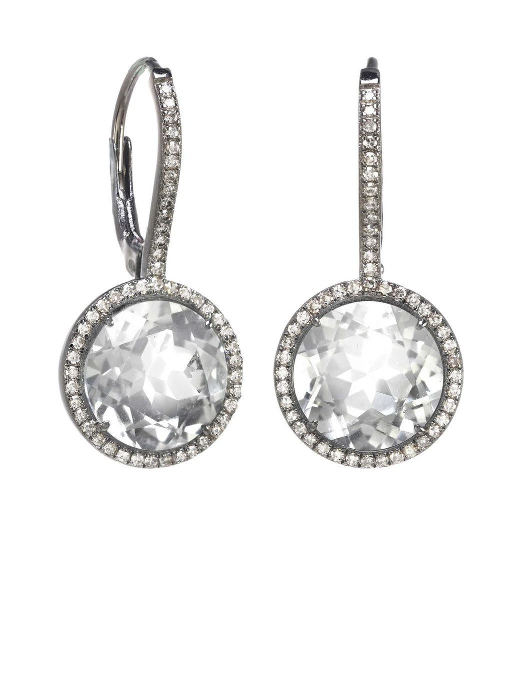Margo Morrison White Topaz and Diamond Drop Earrings - Sterling Silver