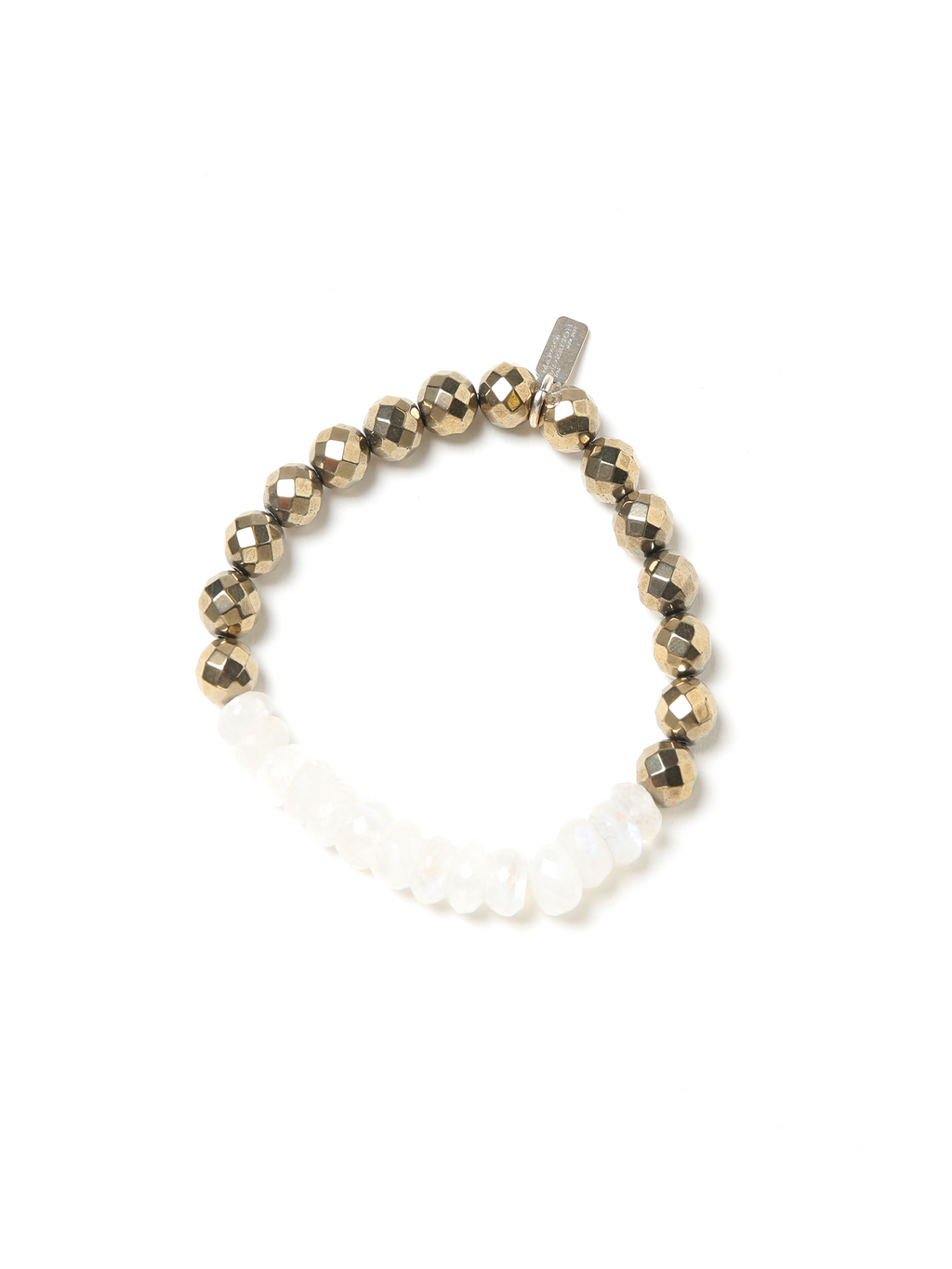 Margo Morrison Faceted Moonstone and Pyrite Stretch Bracelet