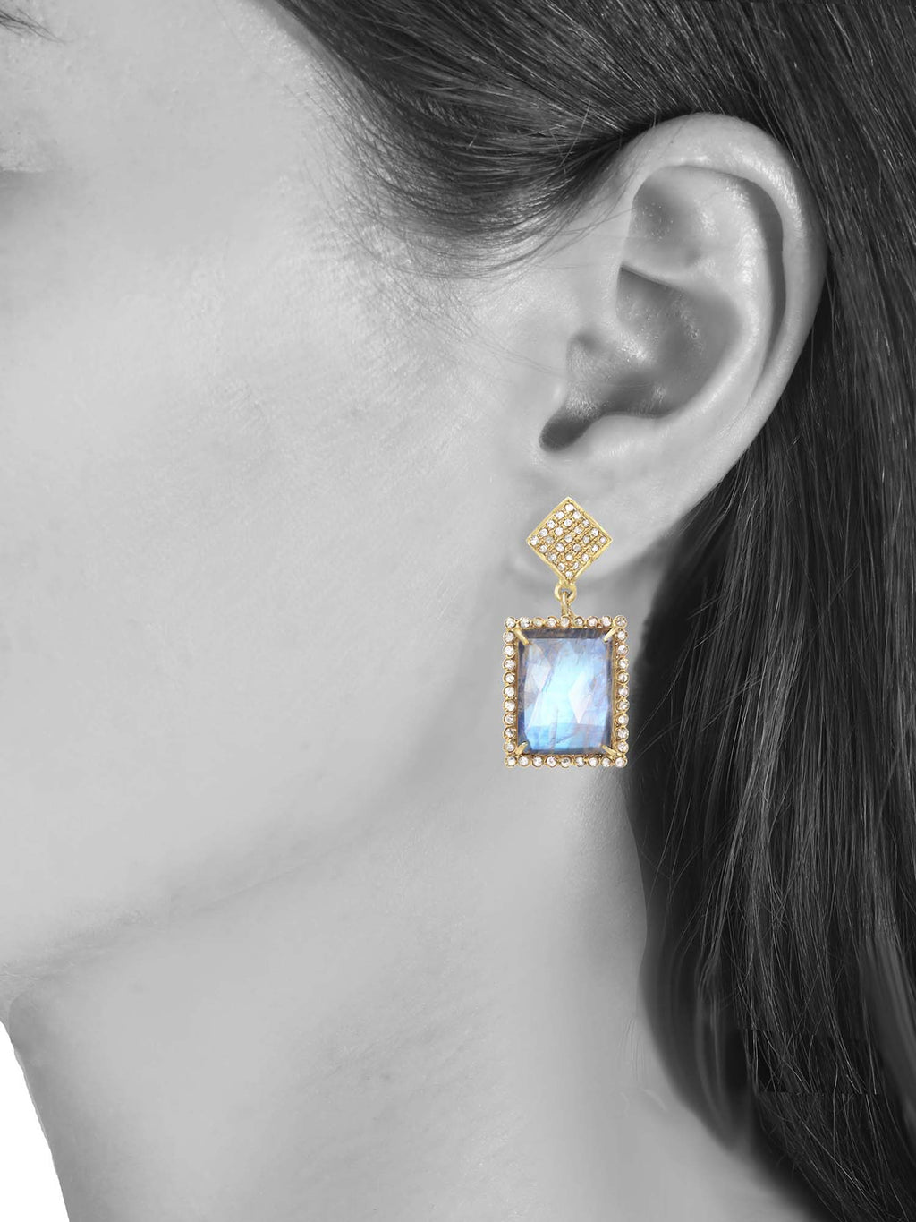 Margo Morrison Moonstone and Diamond Rectangle Gem Drop Earrings - Gold Vermeil