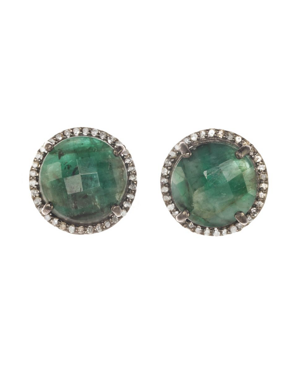 Margo Morrison Faceted Raw Emerald and Diamond Stud Earrings