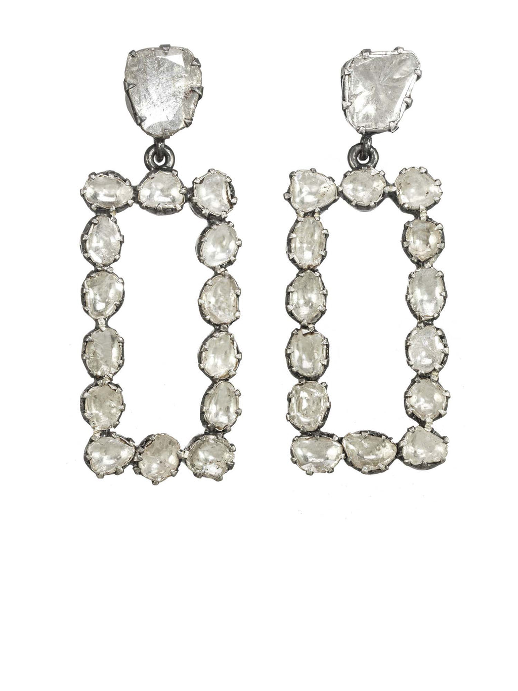 Margo Morrison Raw Diamond Rectangle Earrings