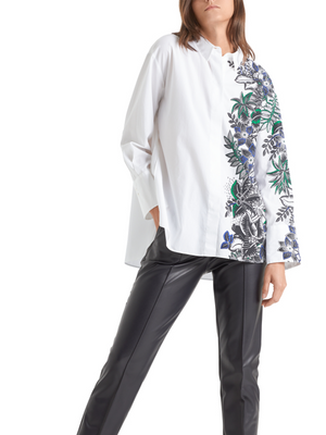 Marc Cain Long Oxford Blouse with Tropical Print
