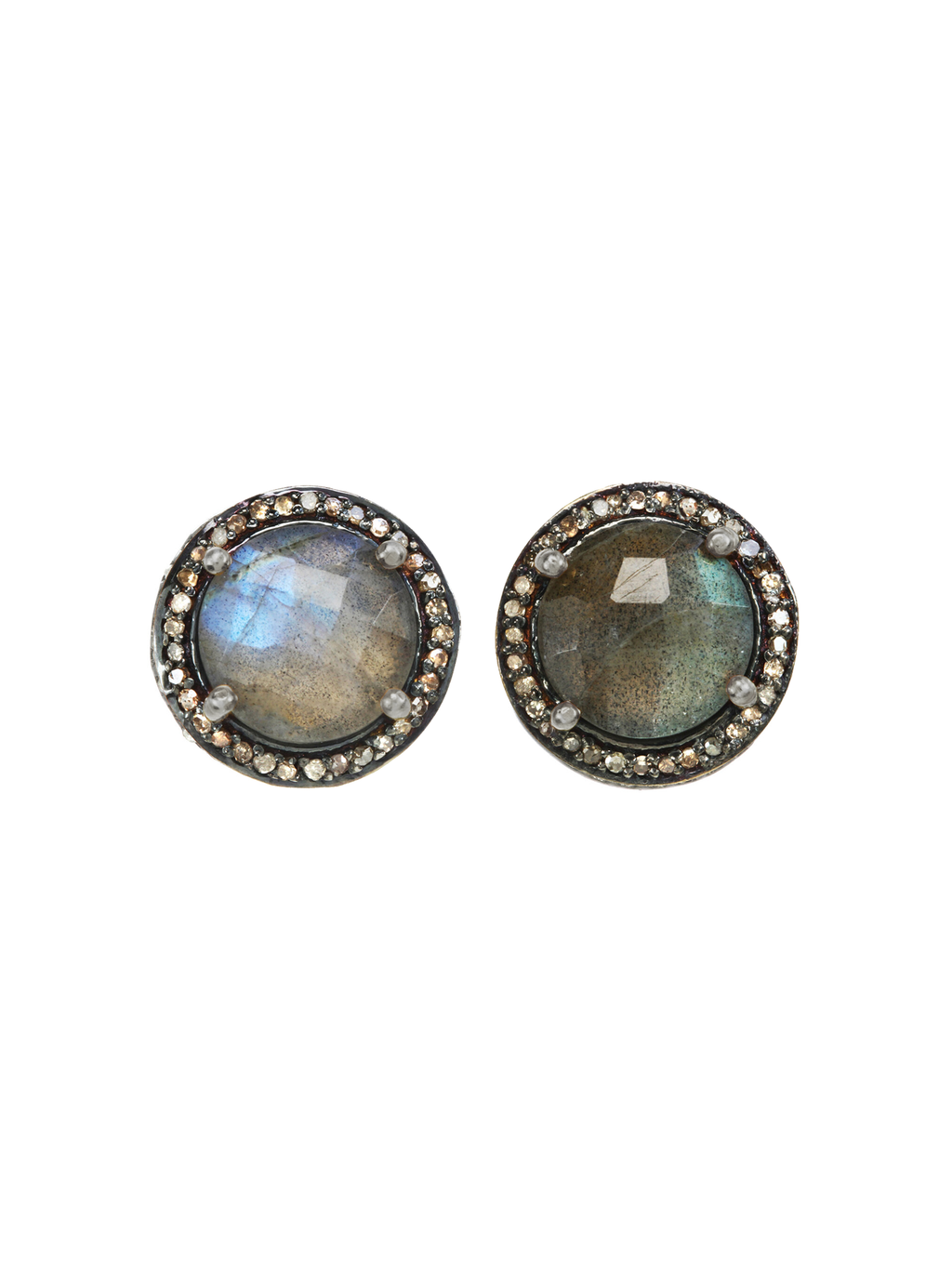 Margo Morrison Faceted Labradorite and Diamond Studs