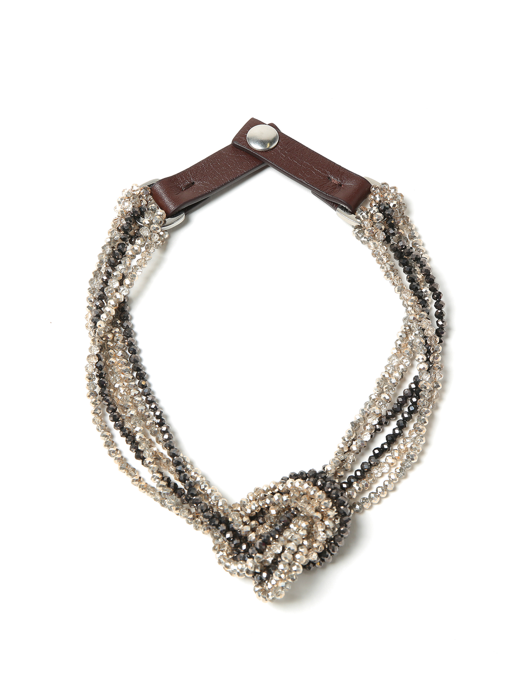 Peserico Choker Necklace in Demi Crystals with Leather Strap