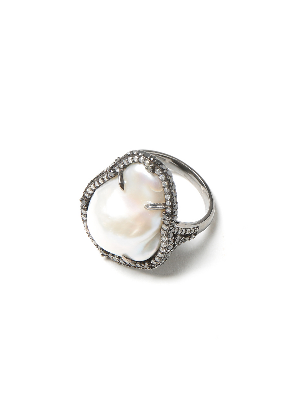 Margo Morrison Pearl and Pave Diamond Ring - Sterling Silver