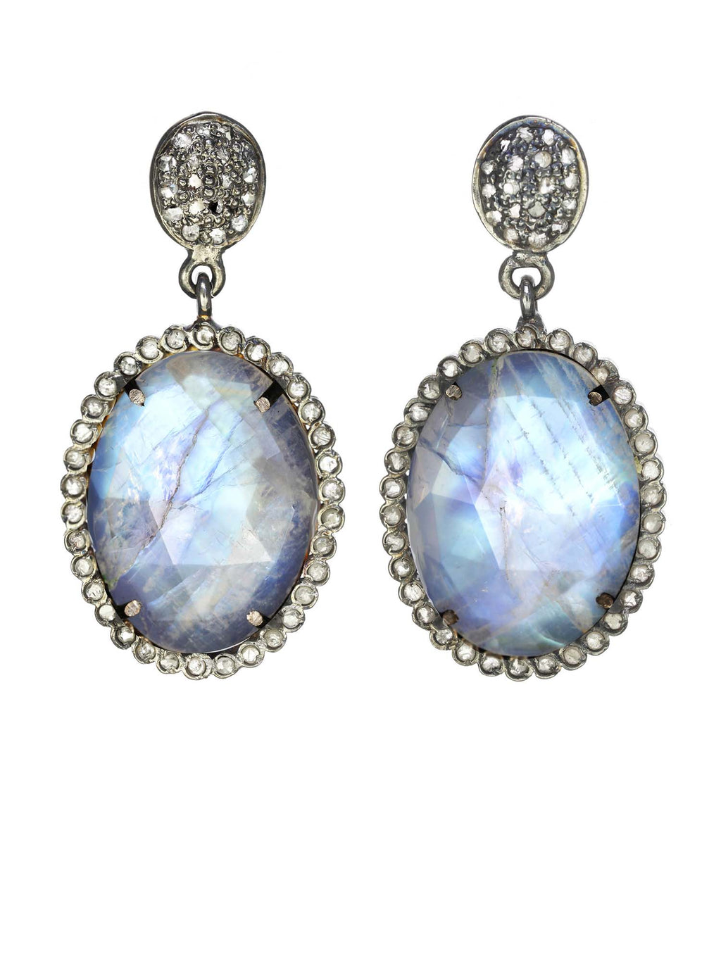 Margo Morrison Moonstone and Diamond Oval Gem Drop Earrings - One of a Kind