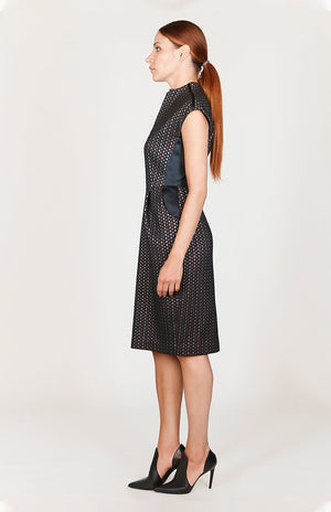 Mi Jong Lee Square Jacquard Mock Neck Fitted Dress w/ Cap Sleeve - Capsule 2