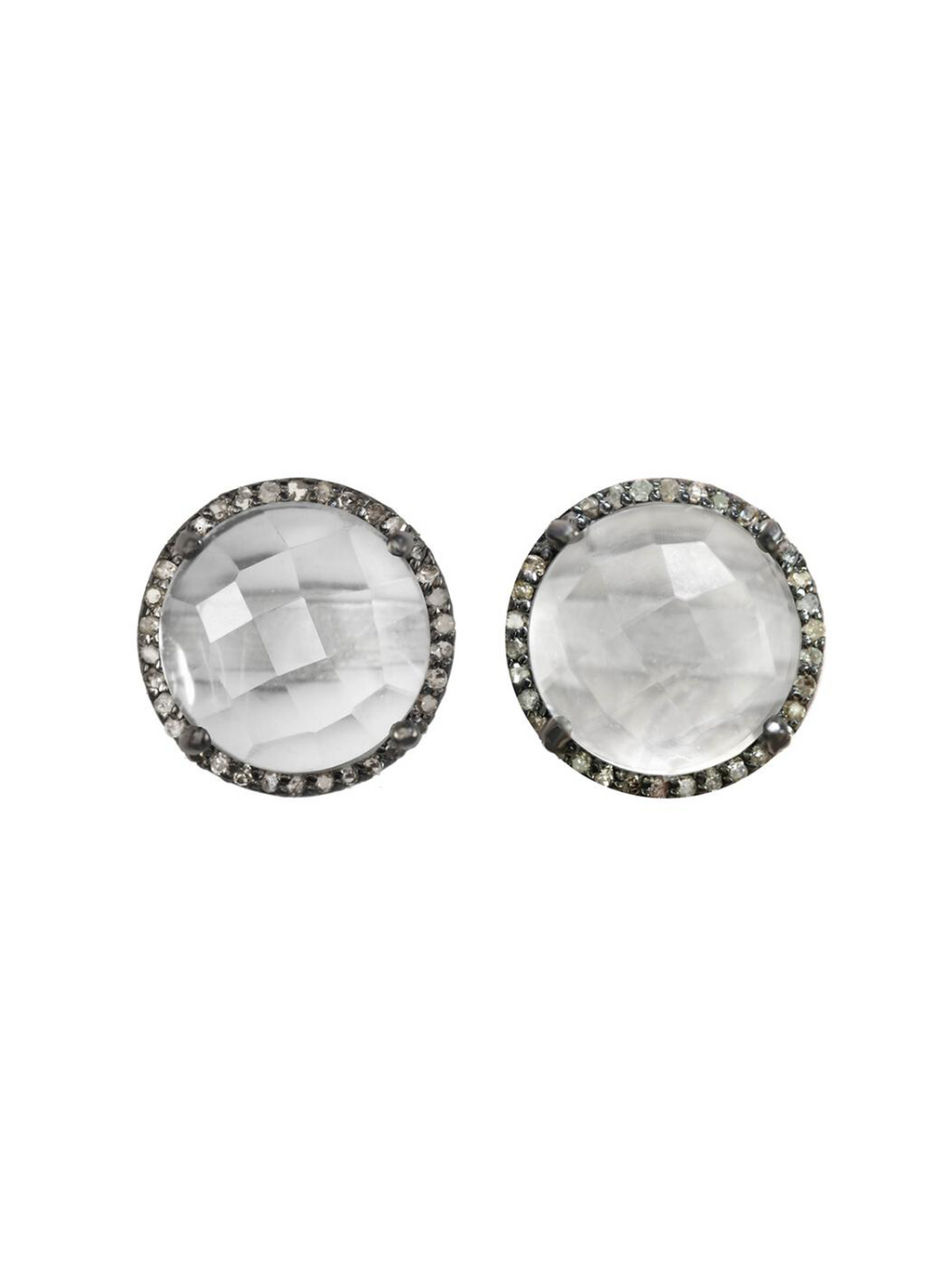 Margo Morrison Faceted Crystal Quartz and Diamond Stud Earrings