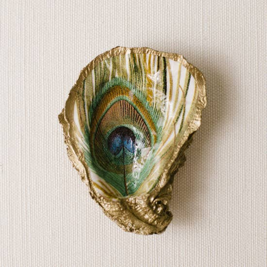 Peacock Feather - Serenity Decoupage Oyster Ring Dish