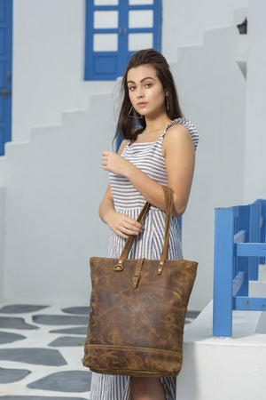 Fleece Leather Tote