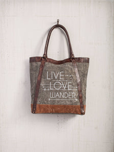 Live Love Wander Up - Cycled Canvas Tote