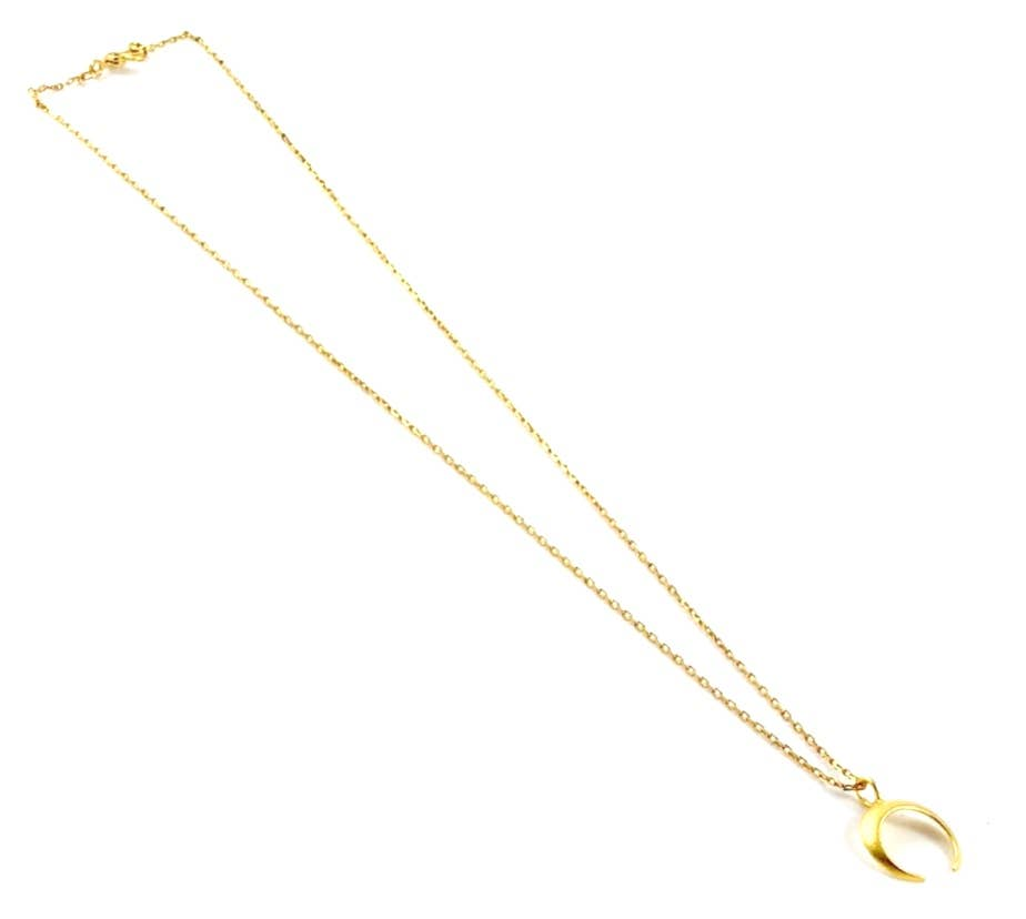 Crescent Vintage Gold Plate Necklace