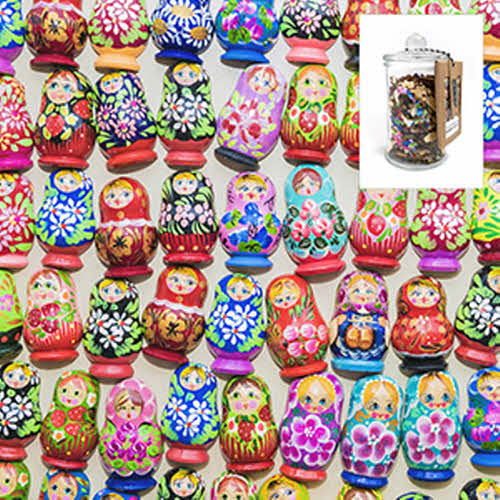 I Go to 250 Pieces Wooden Puzzle Nesting Dolls in Glass Jar