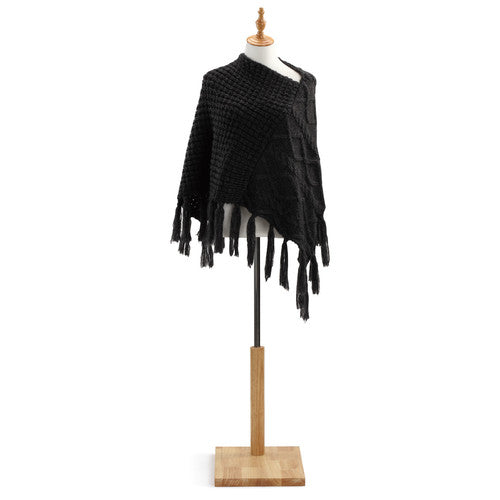 charcoal Cable Knit Poncho