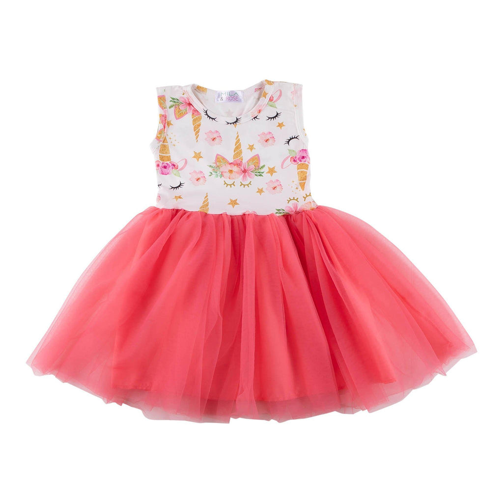Unicorn Dream Coral Tank TuTu Dress