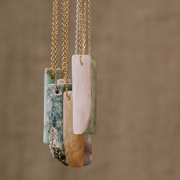 Amazonite Stone Point Necklace - Stone of the Courage