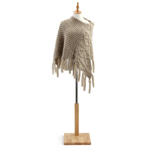 tan Cable Knit Poncho