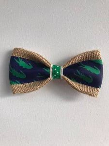 DOG BOW TIES - Alligators Green On Navy