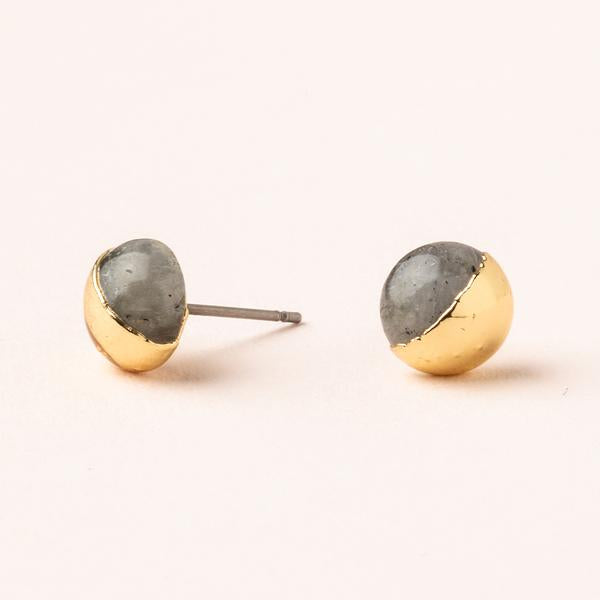 Labradorite Dipped Stone Stud Earrings