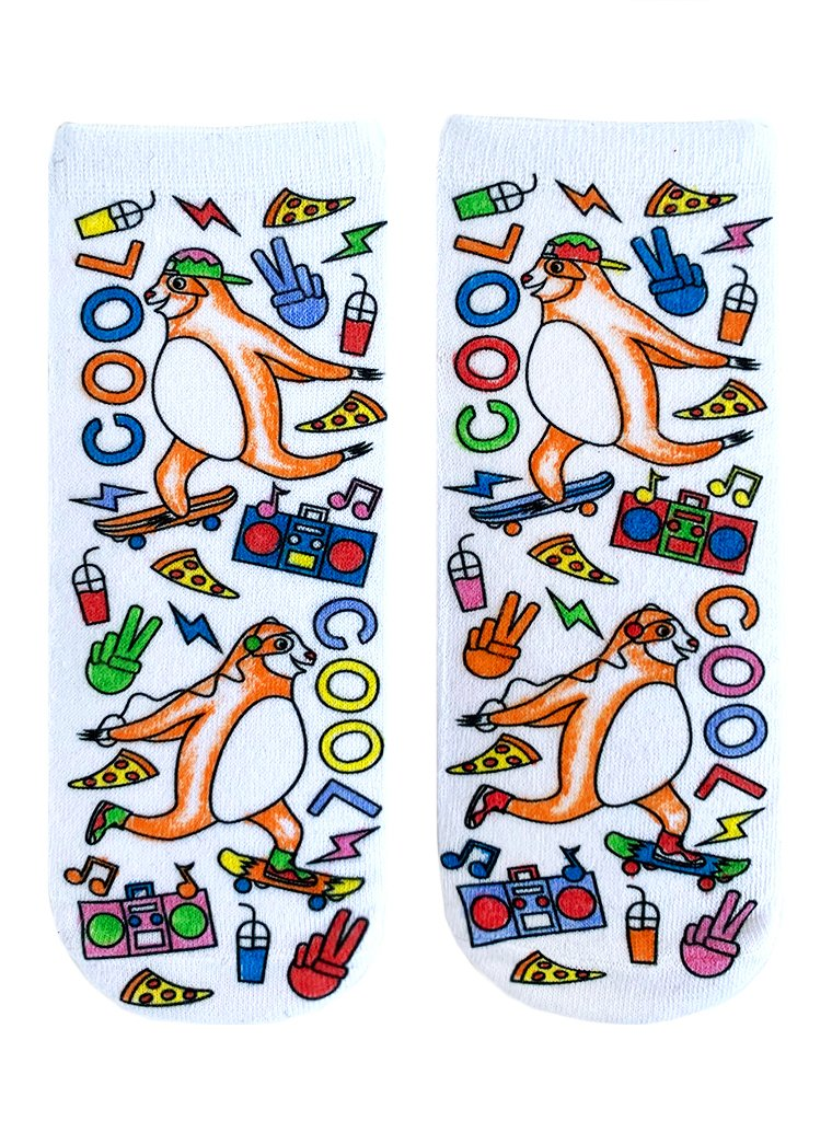 Skateboarding Sloth Color In Socks