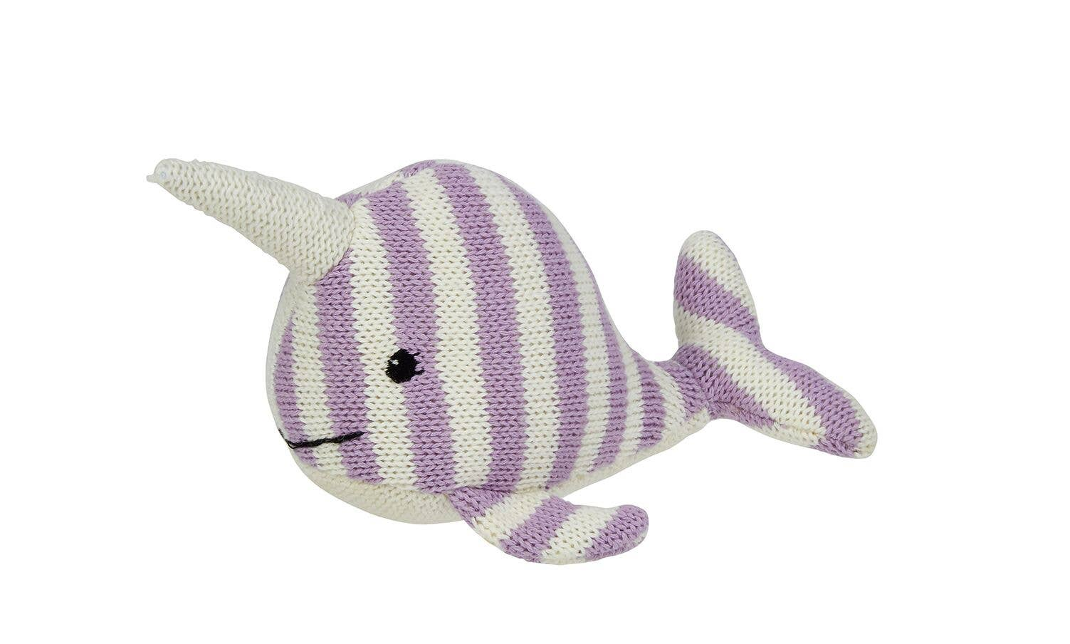 Maison Chic - Nina the Narwhal Striped Knit Rattle