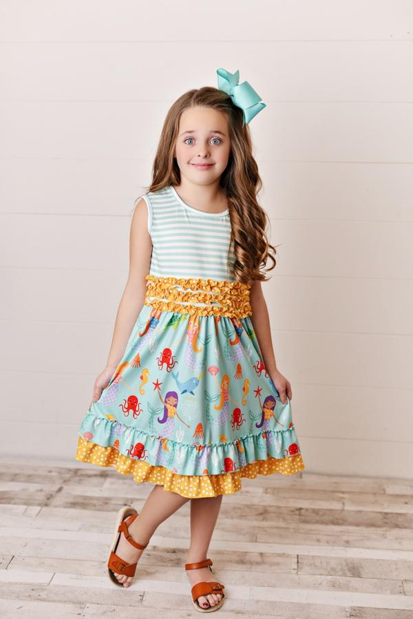 Teal Mermaid & Stripe Ruffle-Hem Spring Dress
