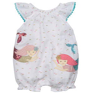 Muslin Sequin Mermaid Bubble Romper