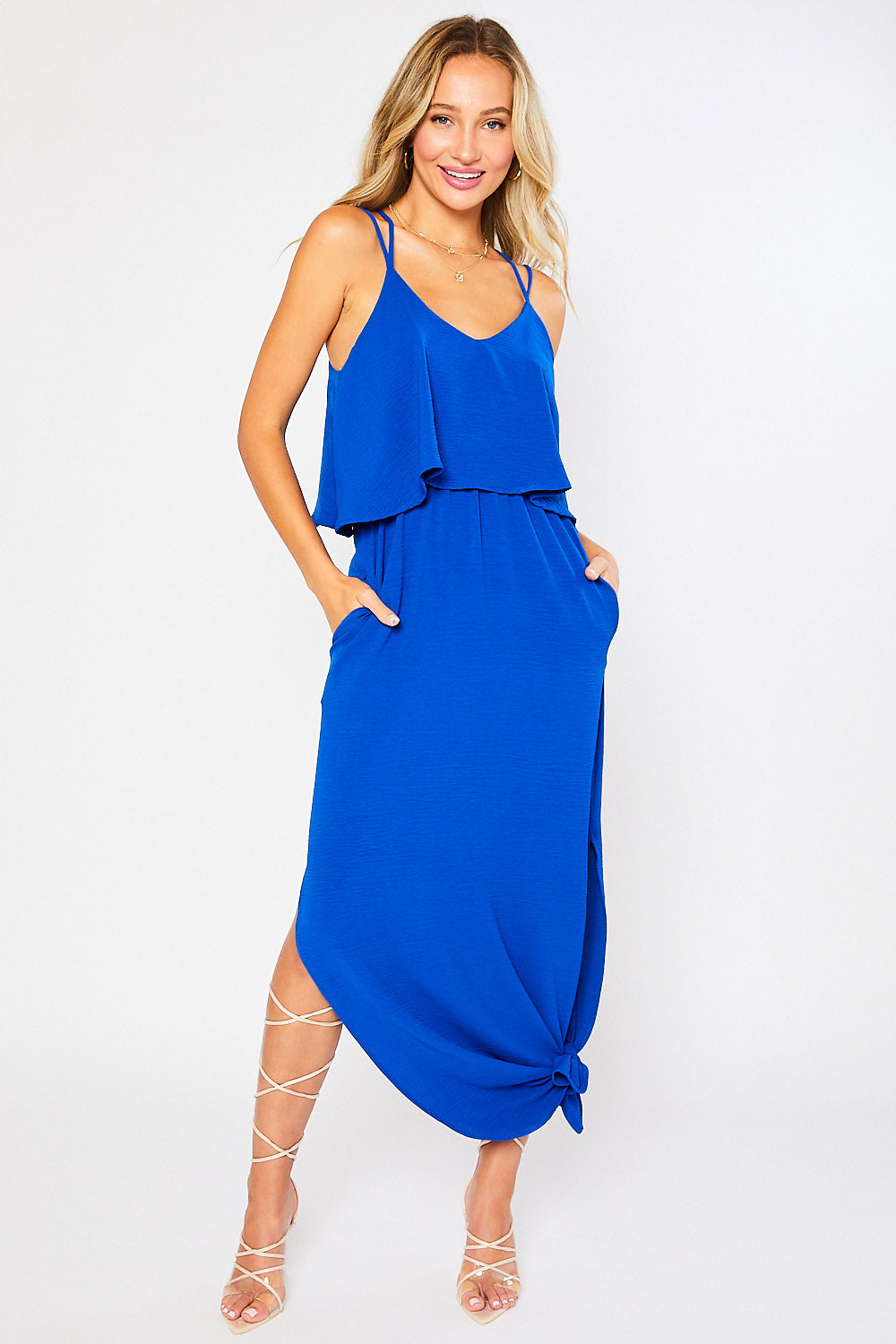 Strappy Back Flounce Maxi Dress