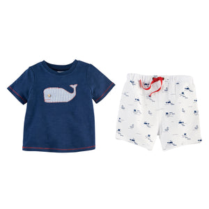 Blue Whale Tee & Seersucker Short Set