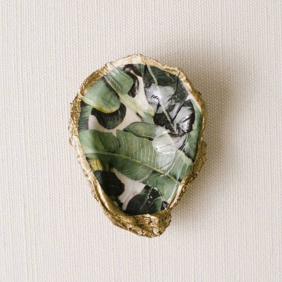 Banana Leaf - Tropical Decoupage Oyster Ring Dish