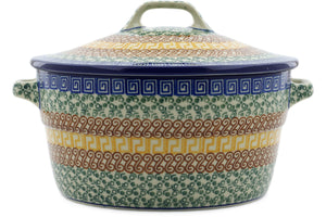 "Grecian Sea 9"" Covered Baker with Handles"