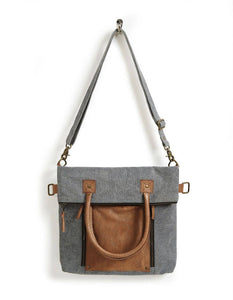 Mona B. - Fold-Over Up-Cycled Canvas Convertible Tote - Ash